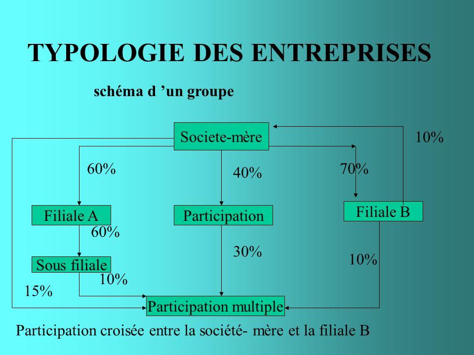 TYPOLOGIE DES ENTREPRISES schéma d un groupe Societe-mère Filiale B ParticipationFiliale A Participation multiple Sous filiale 40% 10% 70% 10% 30% 10%