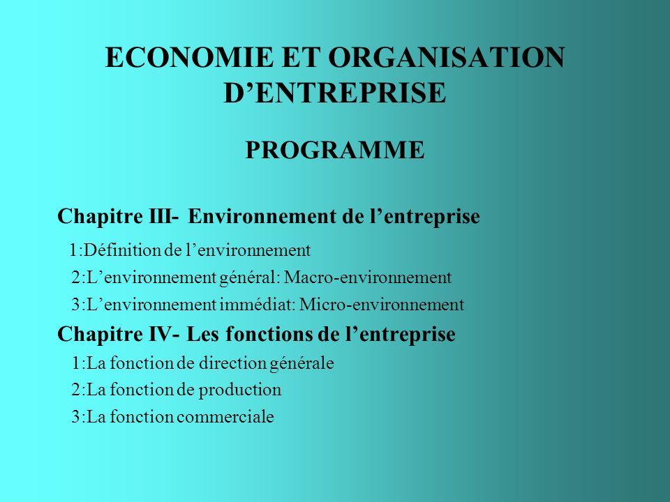 ECONOMIE ET ORGANISATION DENTREPRISE PROGRAMME Chapitre III- Environnement de lentreprise 1:Définition de lenvironnement 2:Lenvironnement général: Mac