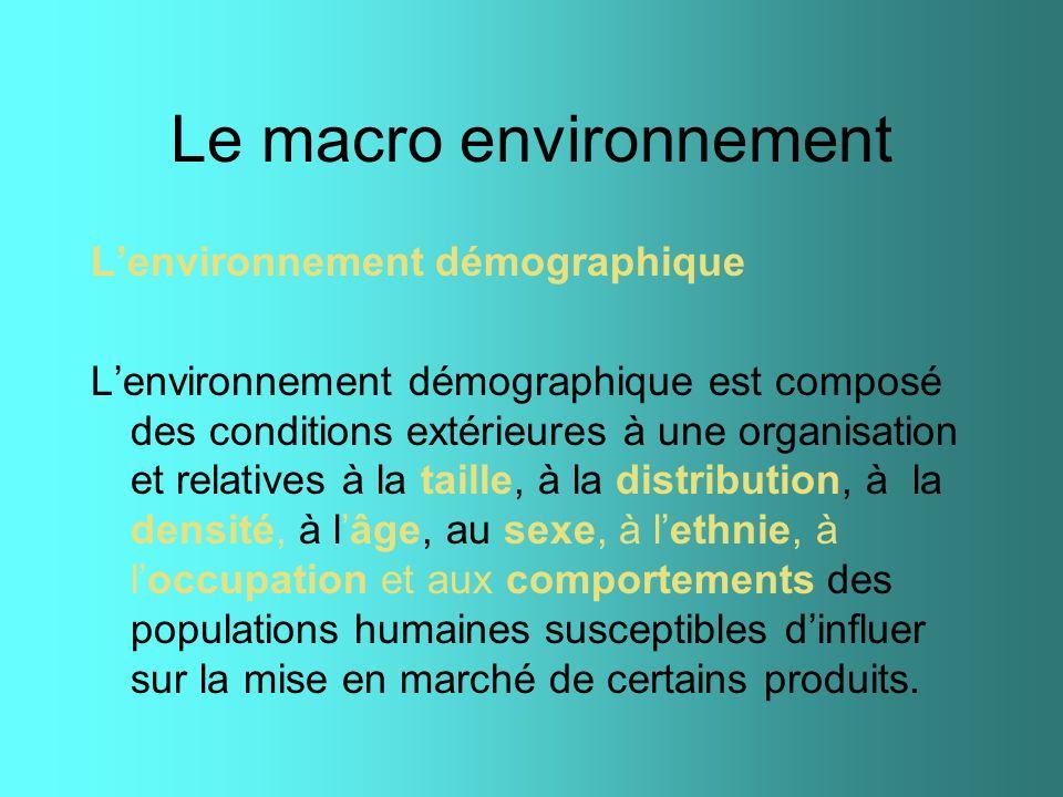 Lenvironnement démographique Lenvironnement démographique est composé des conditions extérieures à une organisation et relatives à la taille, à la dis
