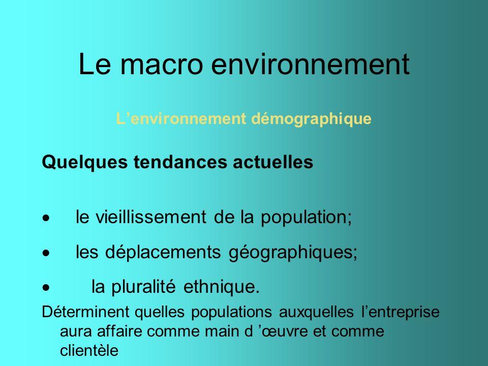 Le macro environnement Lenvironnement démographique Quelques tendances actuelles le vieillissement de la population; les déplacements géographiques; l