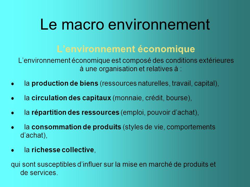 Le macro environnement Lenvironnement économique Lenvironnement économique est composé des conditions extérieures à une organisation et relatives à :