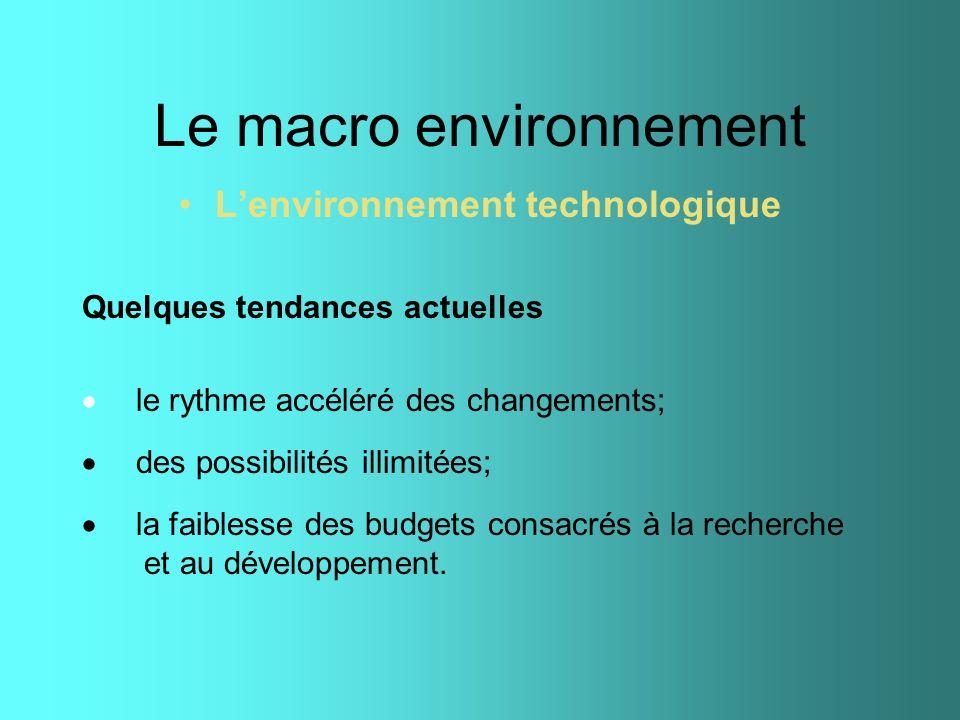 Le macro environnement Lenvironnement technologique Quelques tendances actuelles le rythme accéléré des changements; des possibilités illimitées; la f