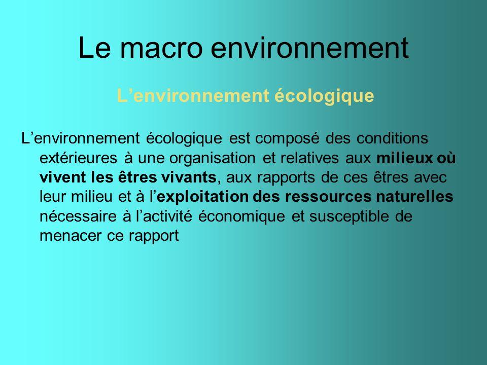 Le macro environnement Lenvironnement écologique Lenvironnement écologique est composé des conditions extérieures à une organisation et relatives aux