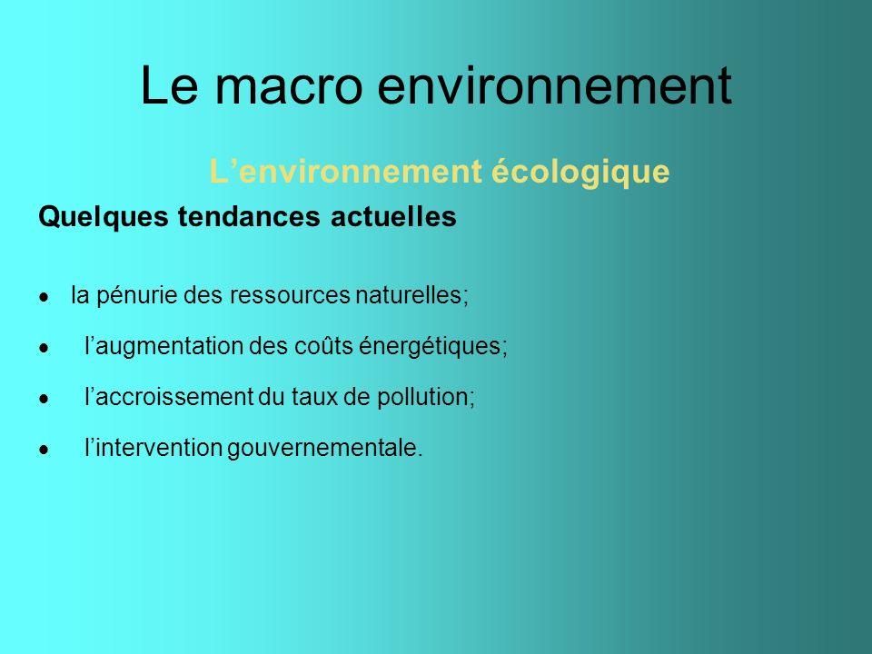 Le macro environnement Lenvironnement écologique Quelques tendances actuelles la pénurie des ressources naturelles; laugmentation des coûts énergétiqu