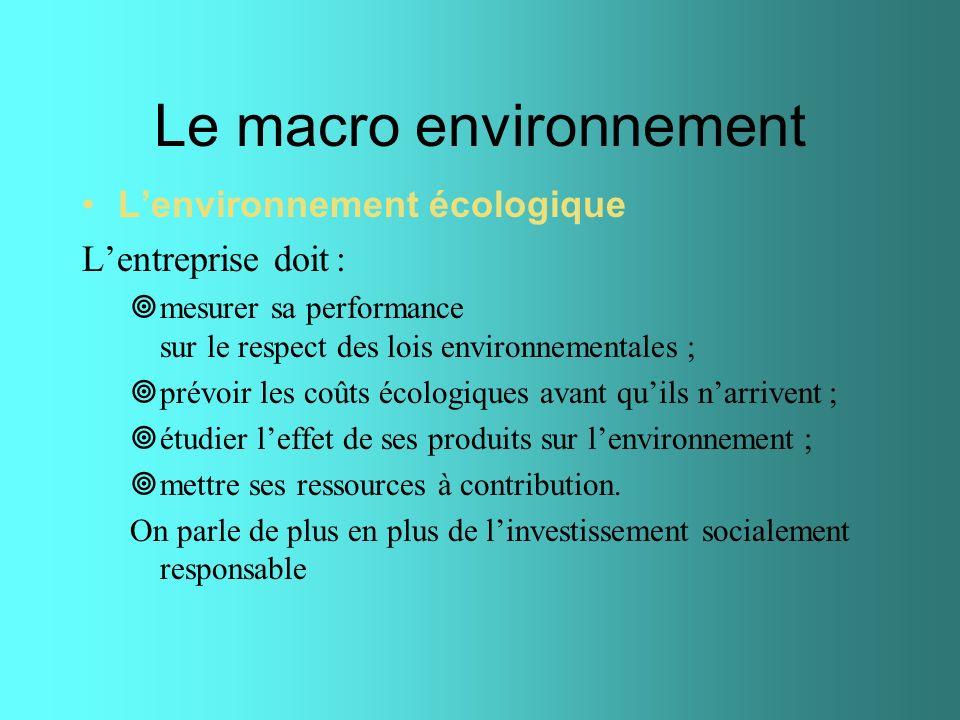 Le macro environnement Lenvironnement écologique Lentreprise doit : mesurer sa performance sur le respect des lois environnementales ; prévoir les coû