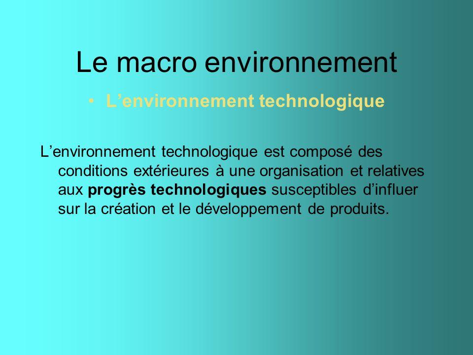 Le macro environnement Lenvironnement technologique Lenvironnement technologique est composé des conditions extérieures à une organisation et relative