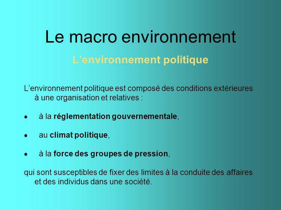 Le macro environnement Lenvironnement politique Lenvironnement politique est composé des conditions extérieures à une organisation et relatives : à la
