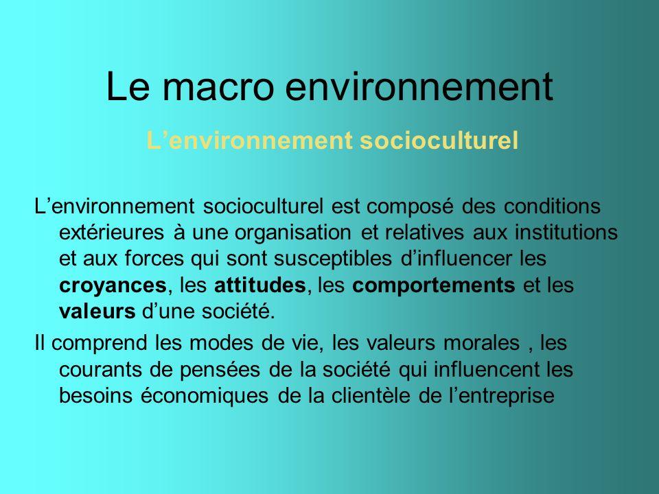 Le macro environnement Lenvironnement socioculturel Lenvironnement socioculturel est composé des conditions extérieures à une organisation et relative