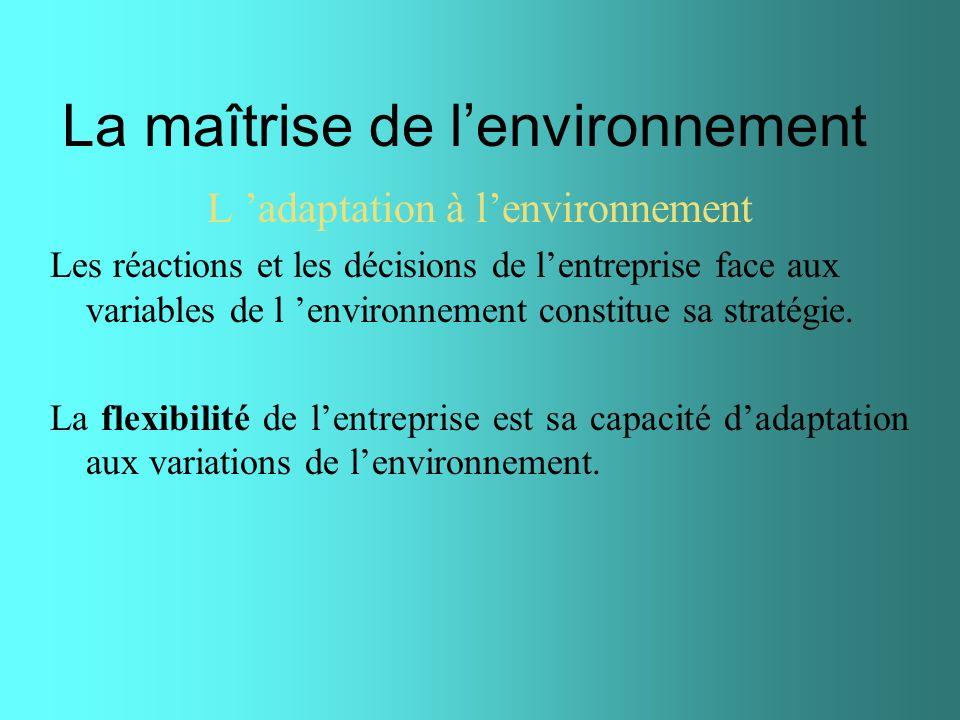 La maîtrise de lenvironnement L adaptation à lenvironnement Les réactions et les décisions de lentreprise face aux variables de l environnement consti