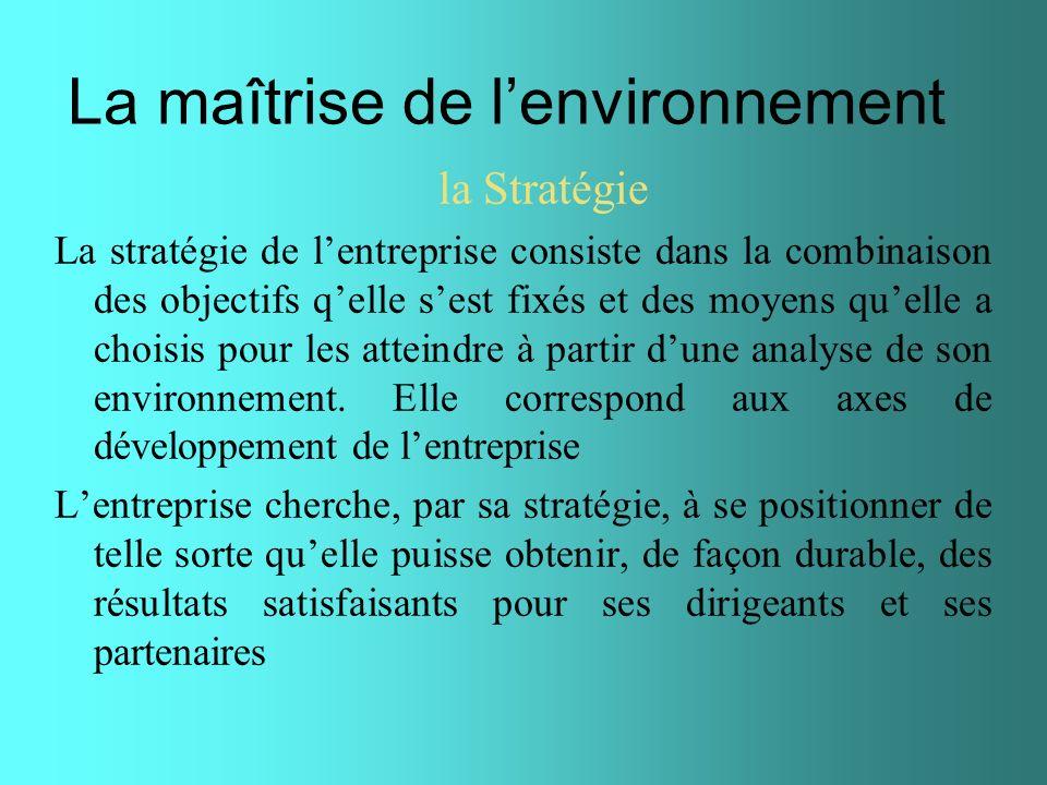 La maîtrise de lenvironnement la Stratégie La stratégie de lentreprise consiste dans la combinaison des objectifs qelle sest fixés et des moyens quell