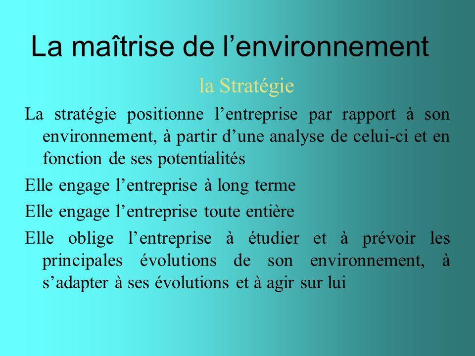 La maîtrise de lenvironnement la Stratégie La stratégie positionne lentreprise par rapport à son environnement, à partir dune analyse de celui-ci et e