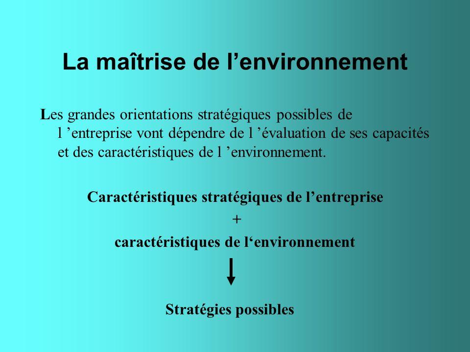La maîtrise de lenvironnement Les grandes orientations stratégiques possibles de l entreprise vont dépendre de l évaluation de ses capacités et des ca