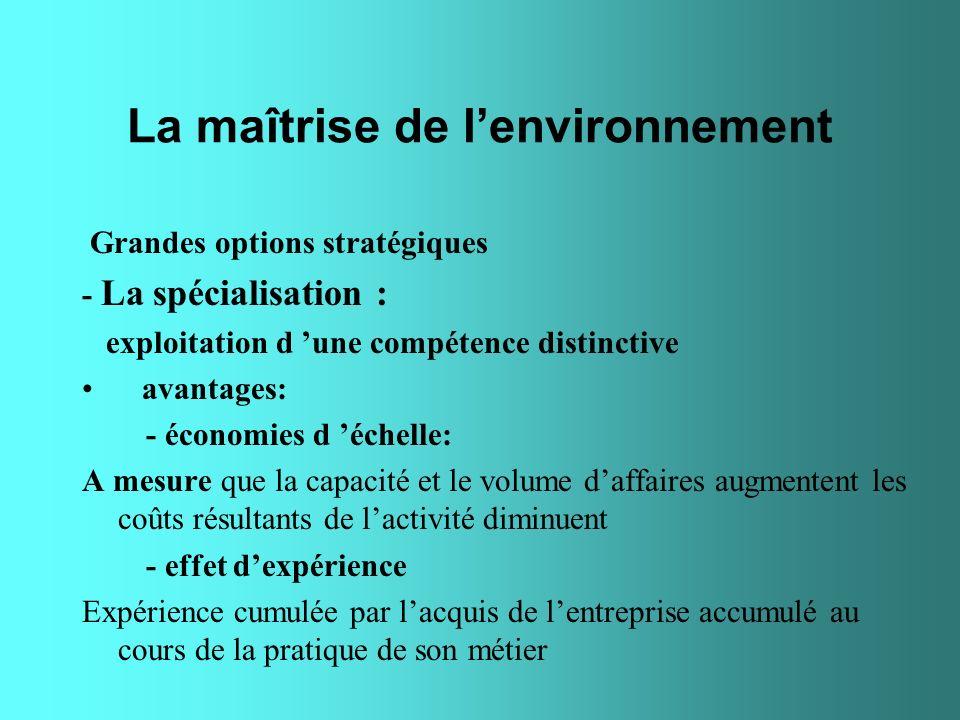 La maîtrise de lenvironnement Grandes options stratégiques - La spécialisation : exploitation d une compétence distinctive avantages: - économies d éc