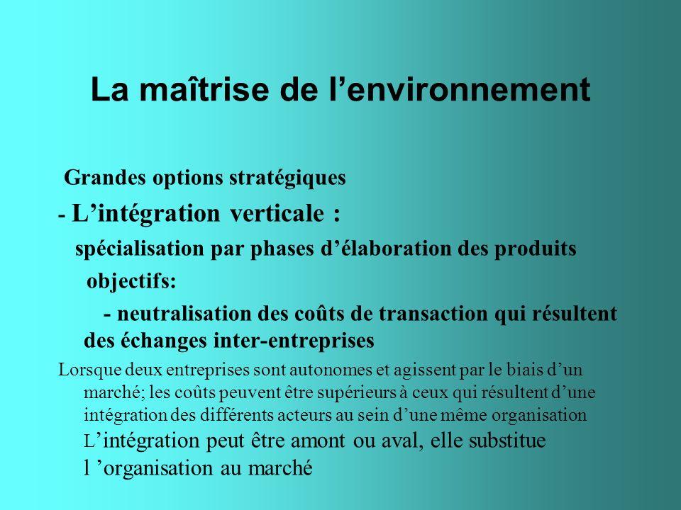 La maîtrise de lenvironnement Grandes options stratégiques - Lintégration verticale : spécialisation par phases délaboration des produits objectifs: -