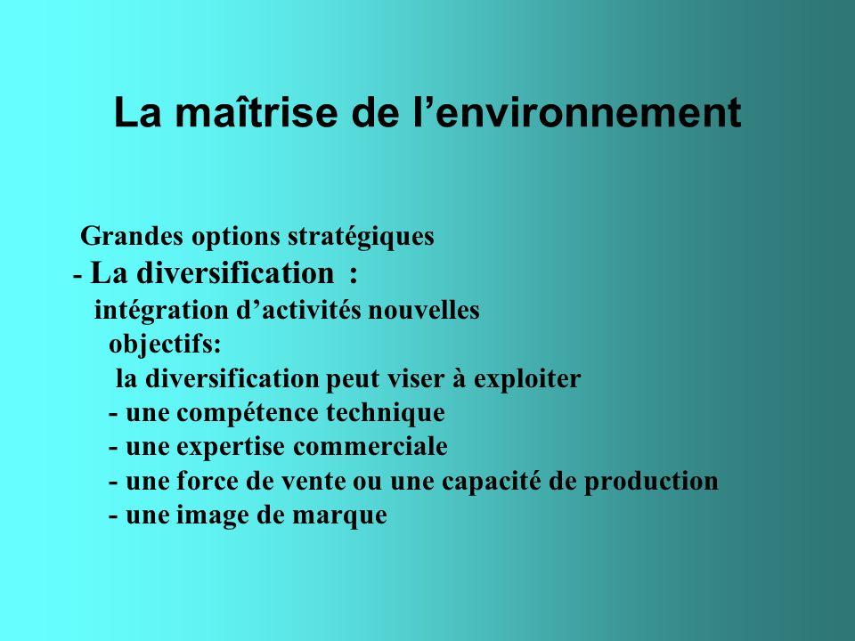 La maîtrise de lenvironnement Grandes options stratégiques - La diversification : intégration dactivités nouvelles objectifs: la diversification peut