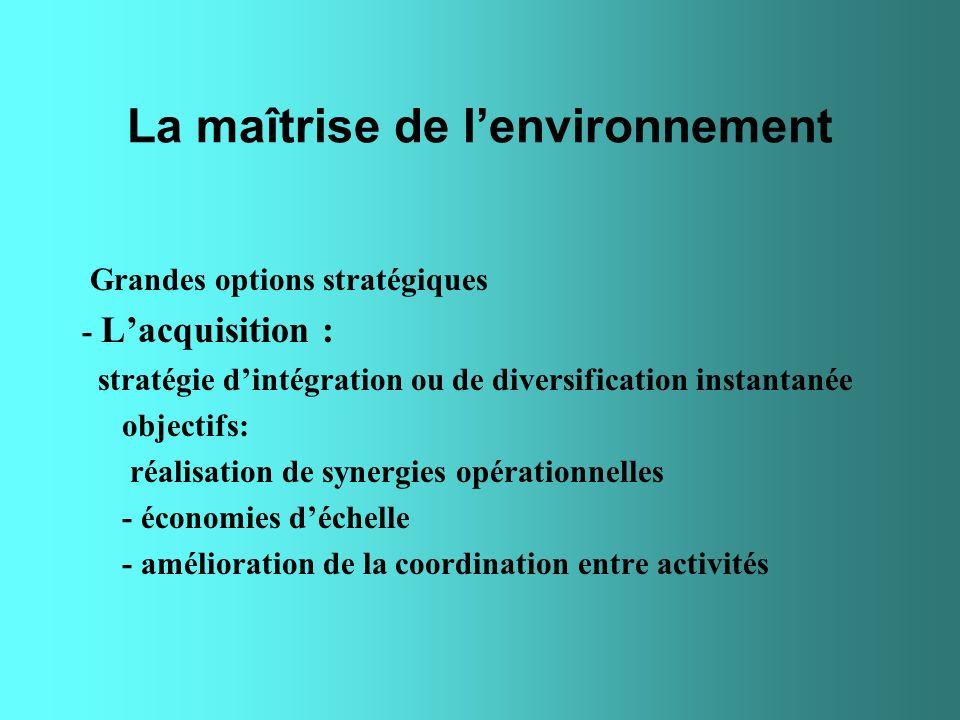 La maîtrise de lenvironnement Grandes options stratégiques - Lacquisition : stratégie dintégration ou de diversification instantanée objectifs: réalis