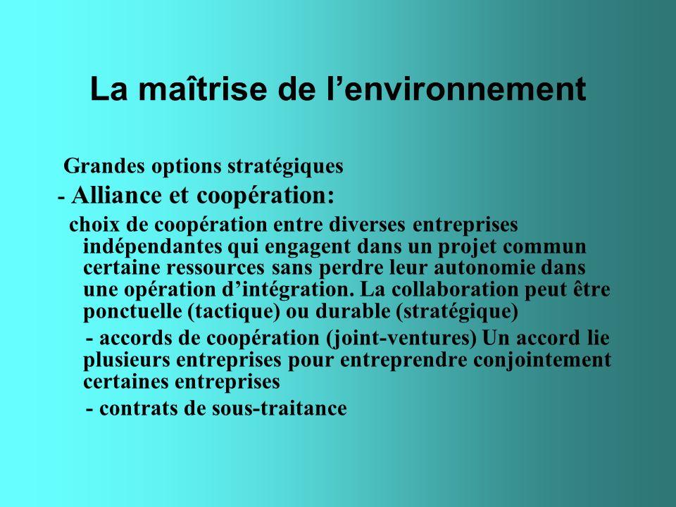 La maîtrise de lenvironnement Grandes options stratégiques - Alliance et coopération: choix de coopération entre diverses entreprises indépendantes qu