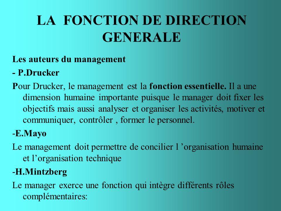 LA FONCTION DE DIRECTION GENERALE Les auteurs du management - P.Drucker Pour Drucker, le management est la fonction essentielle. Il a une dimension hu