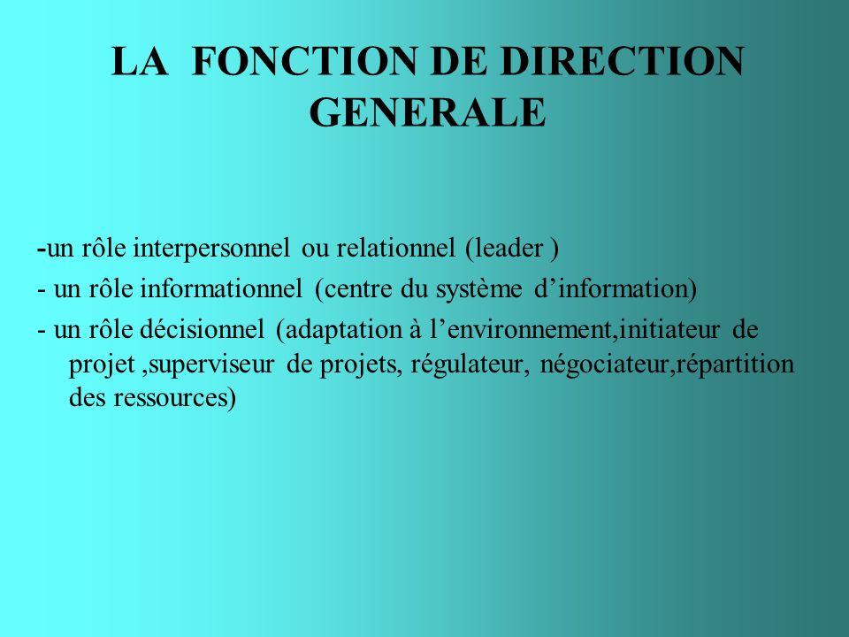 LA FONCTION DE DIRECTION GENERALE -un rôle interpersonnel ou relationnel (leader ) - un rôle informationnel (centre du système dinformation) - un rôle