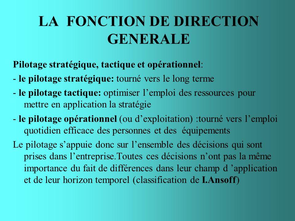LA FONCTION DE DIRECTION GENERALE Pilotage stratégique, tactique et opérationnel: - le pilotage stratégique: tourné vers le long terme - le pilotage t