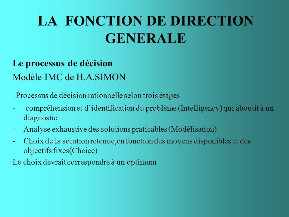 LA FONCTION DE DIRECTION GENERALE Le processus de décision Modèle IMC de H.A.SIMON Processus de décision rationnelle selon trois étapes - compréhensio