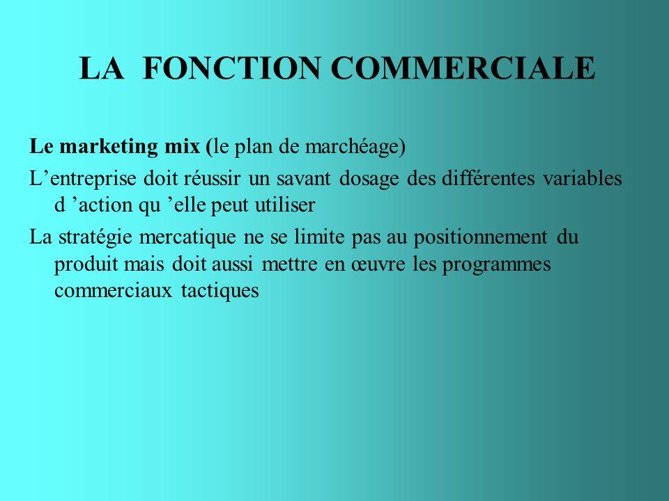 LA FONCTION COMMERCIALE Le marketing mix (le plan de marchéage) Lentreprise doit réussir un savant dosage des différentes variables d action qu elle p