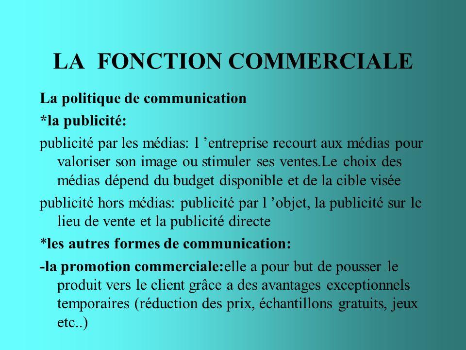 LA FONCTION COMMERCIALE La politique de communication *la publicité: publicité par les médias: l entreprise recourt aux médias pour valoriser son imag