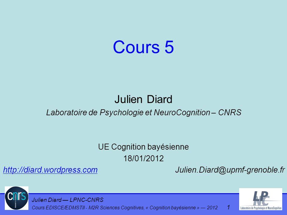 Julien Diard LPNC-CNRS Cours EDISCE/EDMSTII - M2R Sciences Cognitives, « Cognition bayésienne » 2012 1 Cours 5 Julien Diard Laboratoire de Psychologie