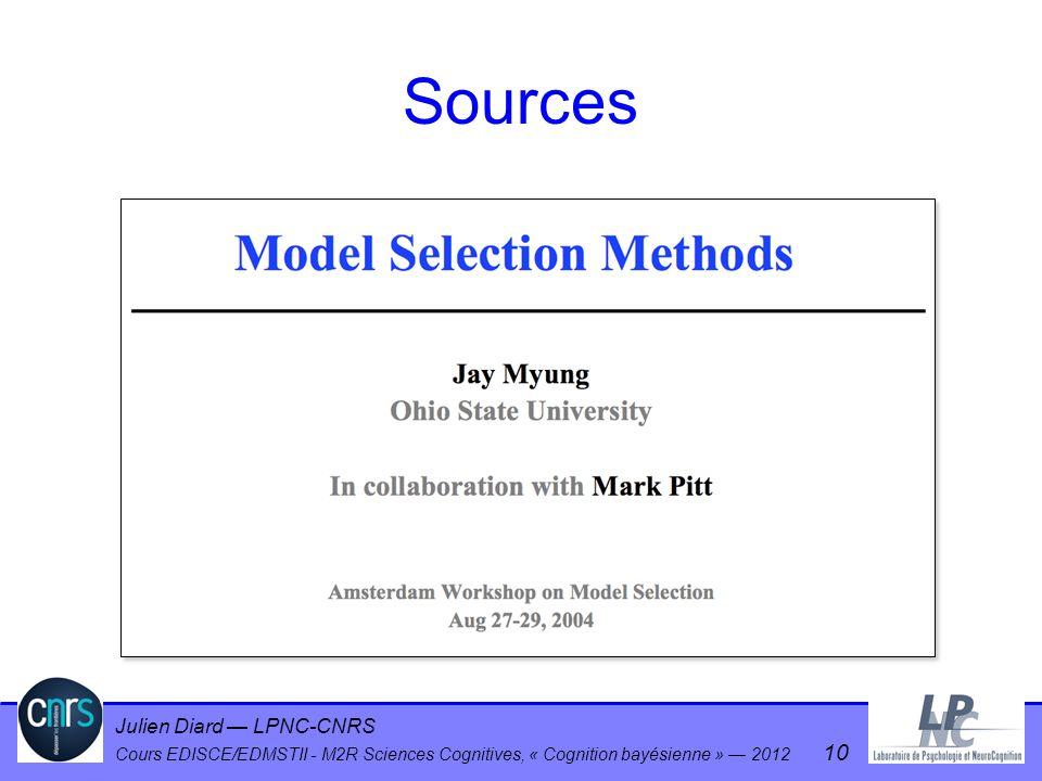 Julien Diard LPNC-CNRS Cours EDISCE/EDMSTII - M2R Sciences Cognitives, « Cognition bayésienne » 2012 10 Sources