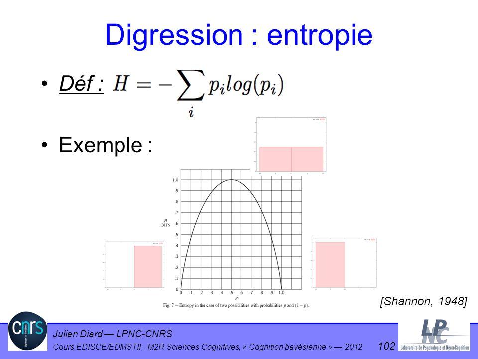 Julien Diard LPNC-CNRS Cours EDISCE/EDMSTII - M2R Sciences Cognitives, « Cognition bayésienne » 2012 102 Digression : entropie Déf : Exemple : [Shanno