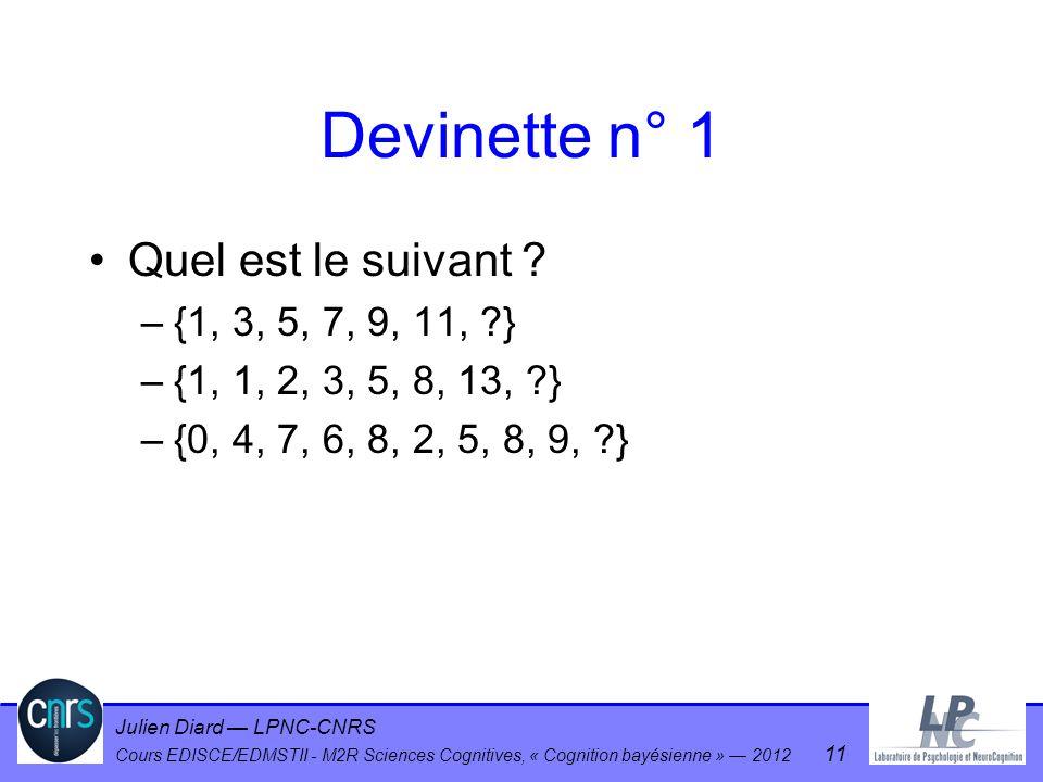 Julien Diard LPNC-CNRS Cours EDISCE/EDMSTII - M2R Sciences Cognitives, « Cognition bayésienne » 2012 11 Devinette n° 1 Quel est le suivant ? –{1, 3, 5