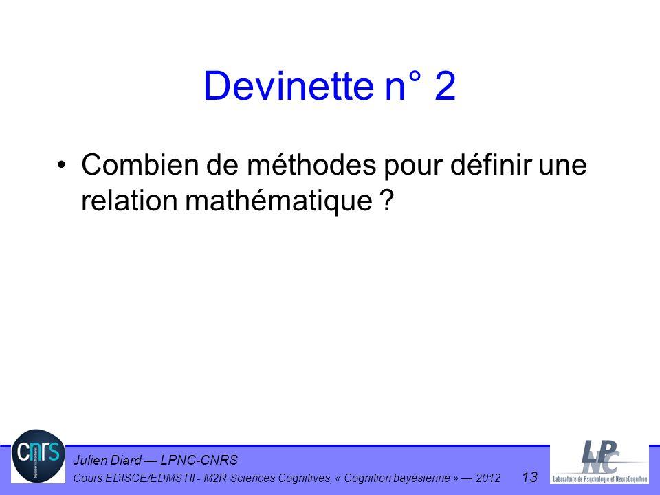 Julien Diard LPNC-CNRS Cours EDISCE/EDMSTII - M2R Sciences Cognitives, « Cognition bayésienne » 2012 13 Devinette n° 2 Combien de méthodes pour défini