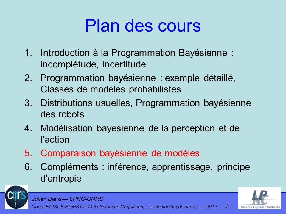 Julien Diard LPNC-CNRS Cours EDISCE/EDMSTII - M2R Sciences Cognitives, « Cognition bayésienne » 2012 2 Plan des cours 1.Introduction à la Programmatio