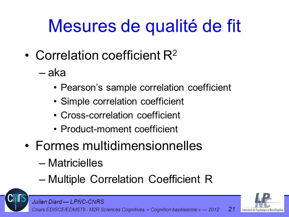Julien Diard LPNC-CNRS Cours EDISCE/EDMSTII - M2R Sciences Cognitives, « Cognition bayésienne » 2012 21 Mesures de qualité de fit Correlation coeffici