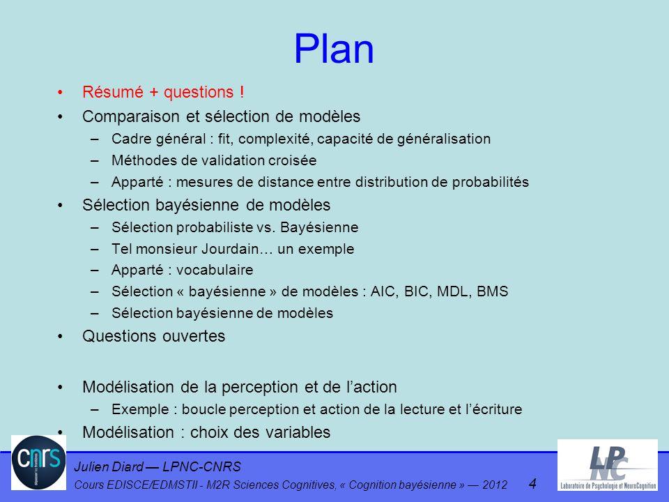 Julien Diard LPNC-CNRS Cours EDISCE/EDMSTII - M2R Sciences Cognitives, « Cognition bayésienne » 2012 4 Plan Résumé + questions ! Comparaison et sélect