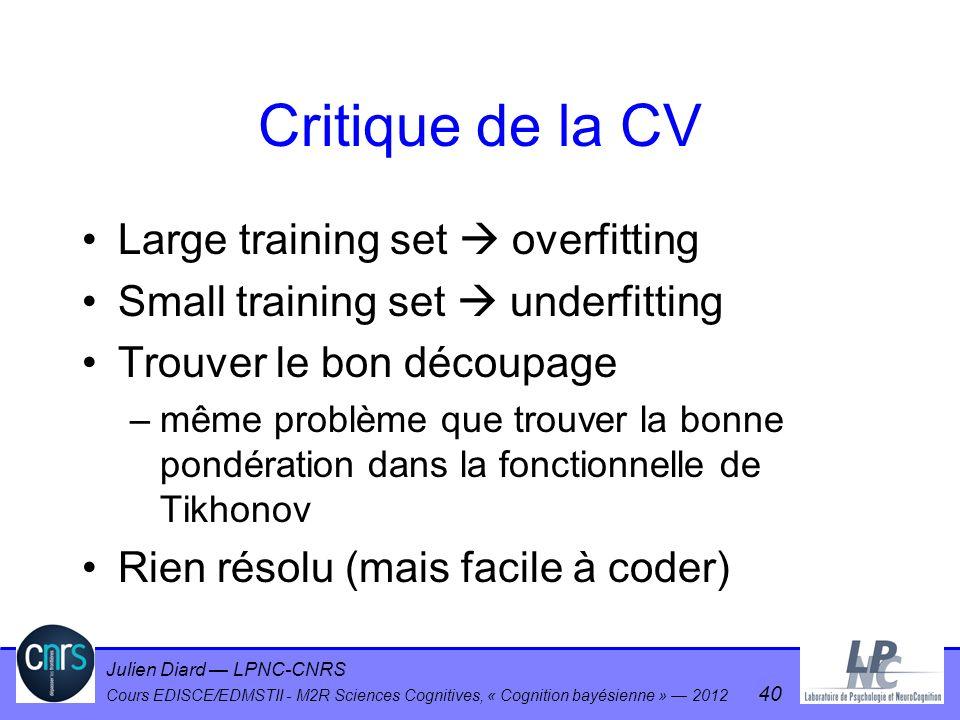 Julien Diard LPNC-CNRS Cours EDISCE/EDMSTII - M2R Sciences Cognitives, « Cognition bayésienne » 2012 40 Critique de la CV Large training set overfitti