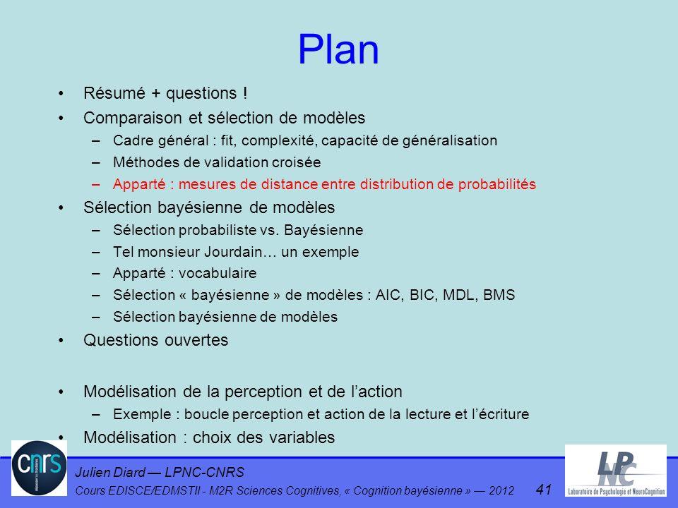 Julien Diard LPNC-CNRS Cours EDISCE/EDMSTII - M2R Sciences Cognitives, « Cognition bayésienne » 2012 41 Plan Résumé + questions ! Comparaison et sélec
