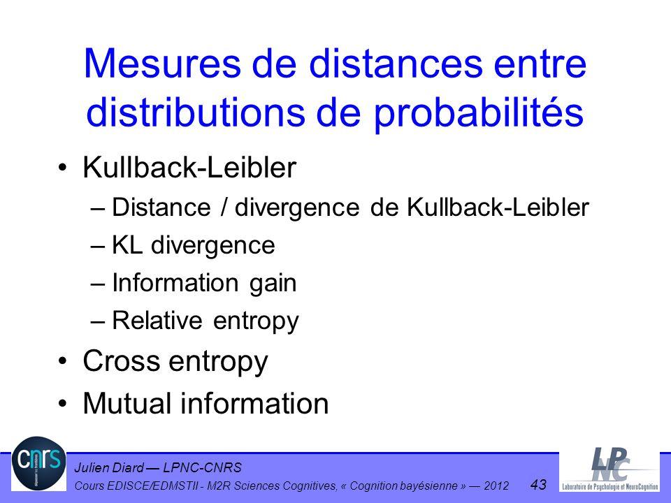 Julien Diard LPNC-CNRS Cours EDISCE/EDMSTII - M2R Sciences Cognitives, « Cognition bayésienne » 2012 43 Mesures de distances entre distributions de pr