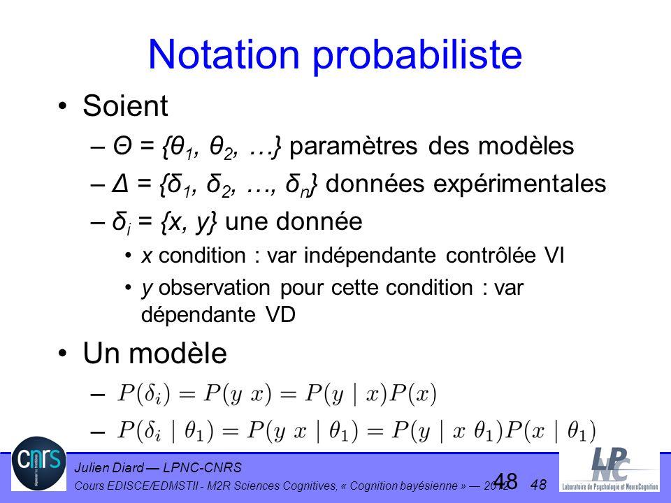 Julien Diard LPNC-CNRS Cours EDISCE/EDMSTII - M2R Sciences Cognitives, « Cognition bayésienne » 2012 48 Notation probabiliste Soient –Θ = {θ 1, θ 2, …