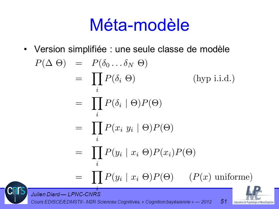 Julien Diard LPNC-CNRS Cours EDISCE/EDMSTII - M2R Sciences Cognitives, « Cognition bayésienne » 2012 51 Méta-modèle Version simplifiée : une seule cla