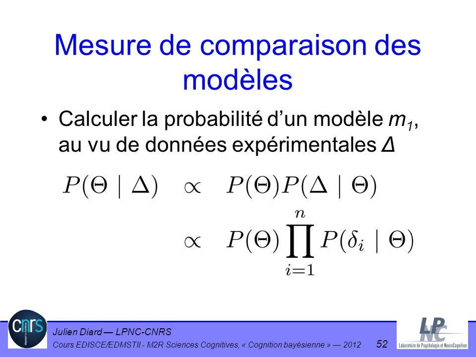 Julien Diard LPNC-CNRS Cours EDISCE/EDMSTII - M2R Sciences Cognitives, « Cognition bayésienne » 2012 52 Mesure de comparaison des modèles Calculer la