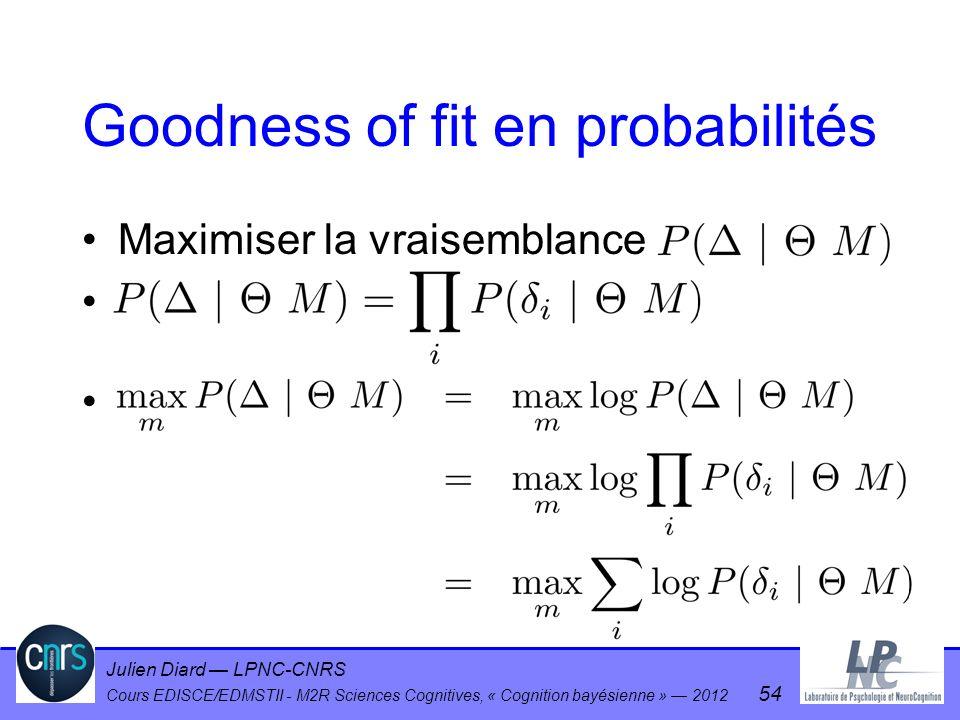 Julien Diard LPNC-CNRS Cours EDISCE/EDMSTII - M2R Sciences Cognitives, « Cognition bayésienne » 2012 54 Goodness of fit en probabilités Maximiser la v
