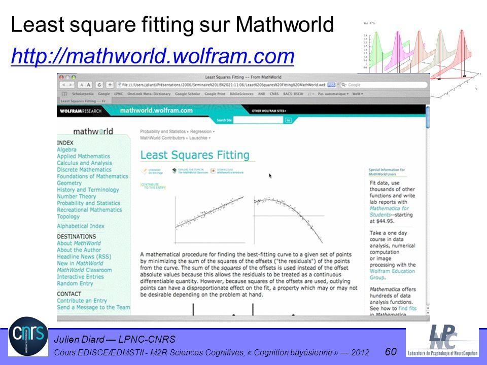 Julien Diard LPNC-CNRS Cours EDISCE/EDMSTII - M2R Sciences Cognitives, « Cognition bayésienne » 2012 60 Least square fitting sur Mathworld http://math