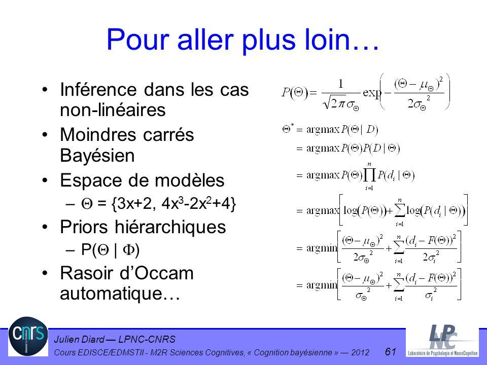 Julien Diard LPNC-CNRS Cours EDISCE/EDMSTII - M2R Sciences Cognitives, « Cognition bayésienne » 2012 61 Pour aller plus loin… Inférence dans les cas n