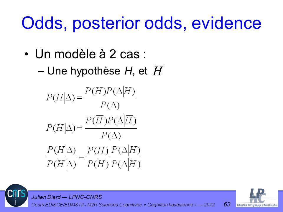 Julien Diard LPNC-CNRS Cours EDISCE/EDMSTII - M2R Sciences Cognitives, « Cognition bayésienne » 2012 63 Odds, posterior odds, evidence Un modèle à 2 c