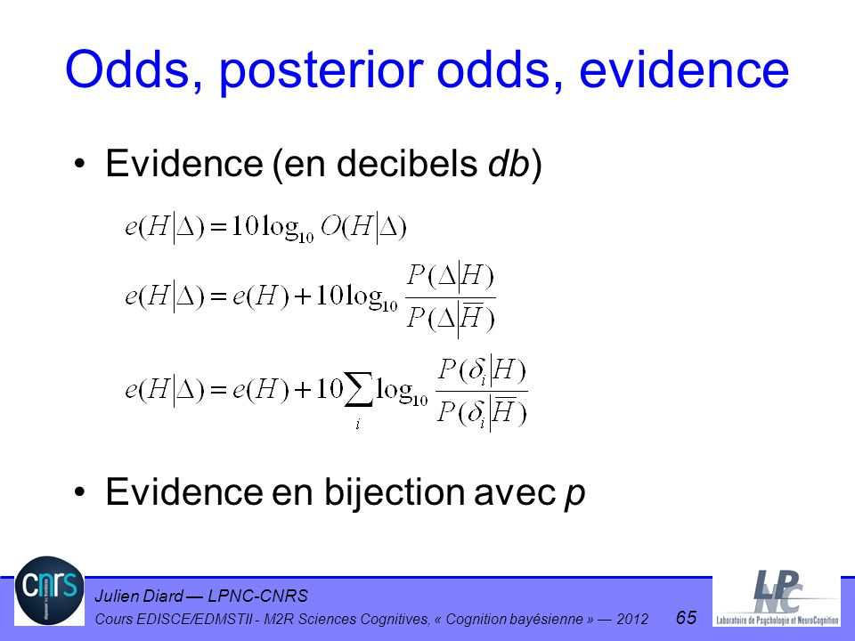 Julien Diard LPNC-CNRS Cours EDISCE/EDMSTII - M2R Sciences Cognitives, « Cognition bayésienne » 2012 65 Evidence (en decibels db) Evidence en bijectio