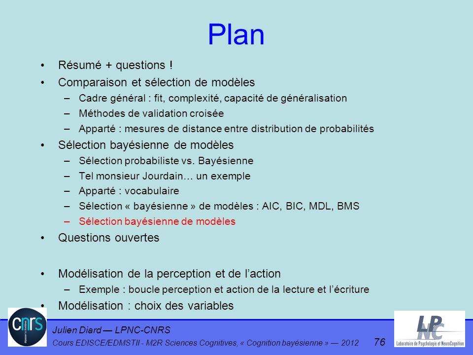 Julien Diard LPNC-CNRS Cours EDISCE/EDMSTII - M2R Sciences Cognitives, « Cognition bayésienne » 2012 76 Plan Résumé + questions ! Comparaison et sélec