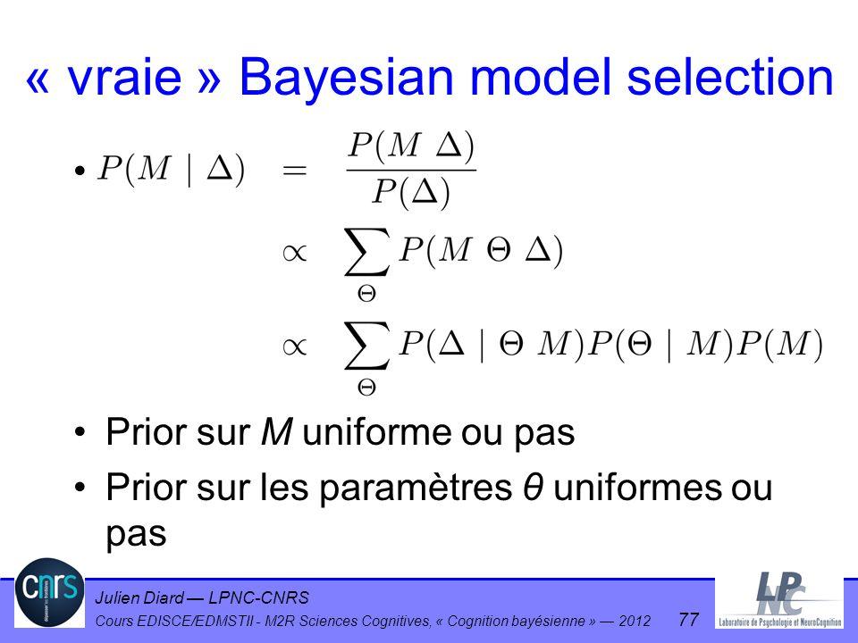 Julien Diard LPNC-CNRS Cours EDISCE/EDMSTII - M2R Sciences Cognitives, « Cognition bayésienne » 2012 77 « vraie » Bayesian model selection Prior sur M