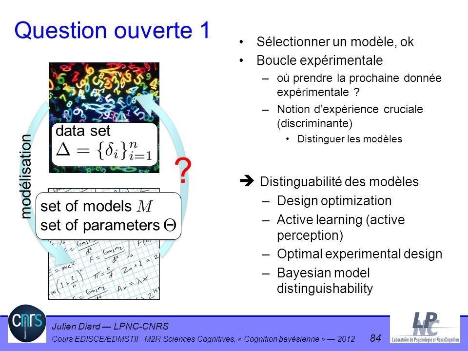 Julien Diard LPNC-CNRS Cours EDISCE/EDMSTII - M2R Sciences Cognitives, « Cognition bayésienne » 2012 84 Question ouverte 1 Sélectionner un modèle, ok