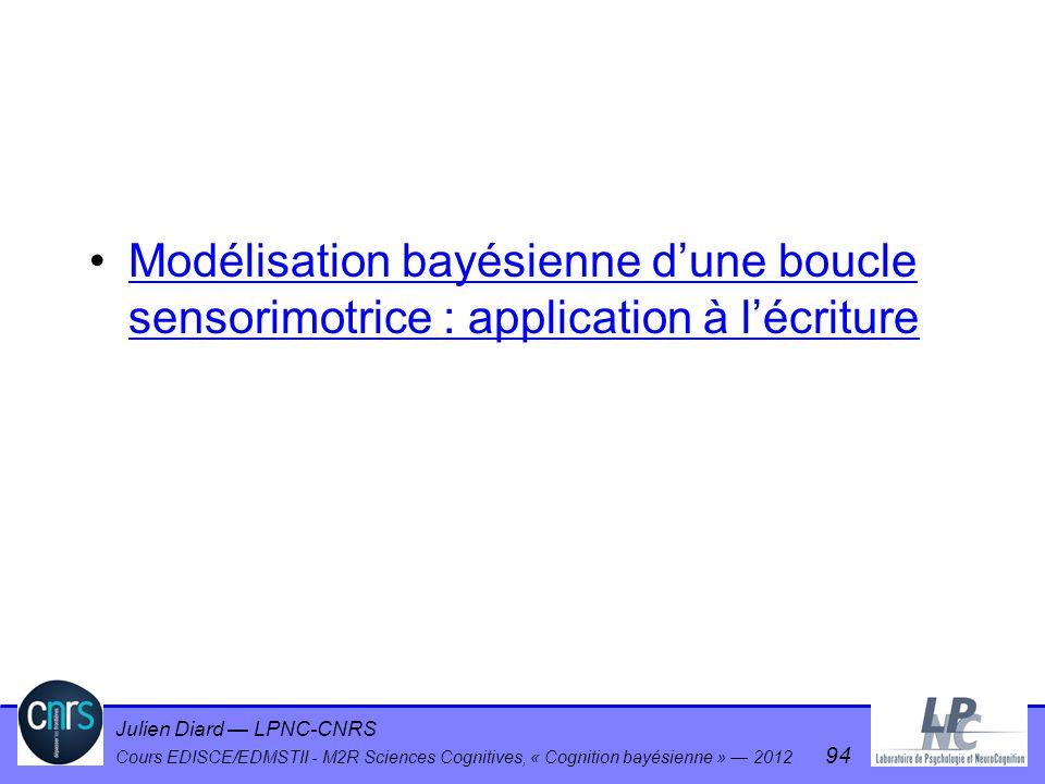 Julien Diard LPNC-CNRS Cours EDISCE/EDMSTII - M2R Sciences Cognitives, « Cognition bayésienne » 2012 94 Modélisation bayésienne dune boucle sensorimot